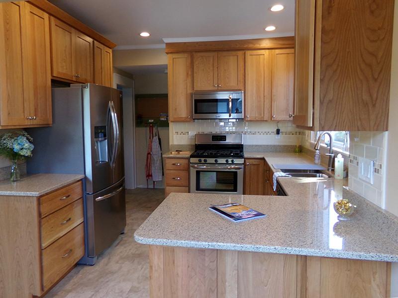 Cherry Kitchen Cabinets With White Quartz Countertops Kitchen
